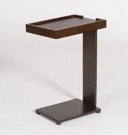 Midtown Accent Table in Dark Walnut and Gunmetal Finish