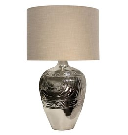 Tribal Embossed Metal Table Lamp
