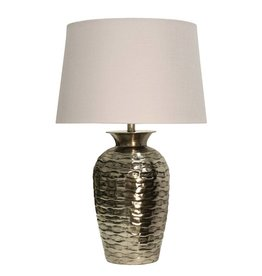 Hammered Aged Silver Metal Table Lamp