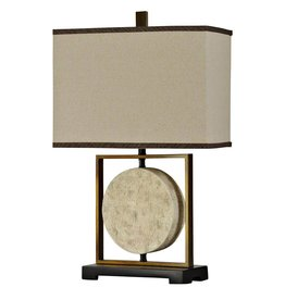Metal and Carved Faux Stone Accent Lamp