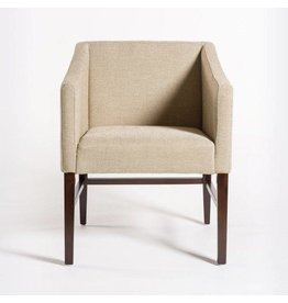 Preston Dining Chair in Khaki Herringbone & Dark Walnut