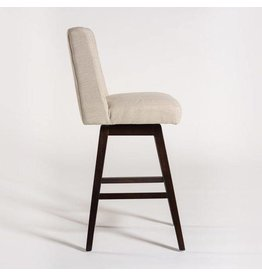 Tribeca Swivel Counter Stool in Cement Herringbone and Ebony