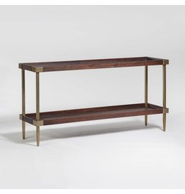 Avenue Console Table in Walnut finish and Antique Brass base