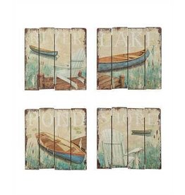 "18"" Square MDF Wall Décor w/ Lake Image, 4 Styles"