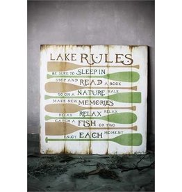 "32-1/2"" Square MDF ""Lake Rules"" Wall Décor"