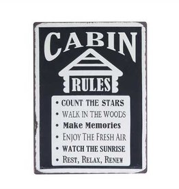 """Metal """"Cabin Rules"""" Wall Décor"""
