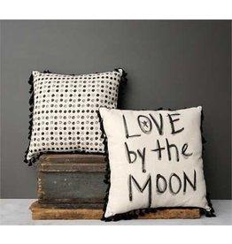 "18"" Square Cotton & Linen Pillow w/ Tassels, Black/Grey, 2 Styles"