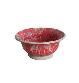 "16-1/4"" Round x 8""H Decorative Terra Cotta Bowl, Distressed Red Finish"