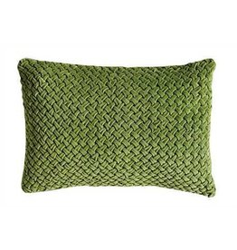 "20""L x 12""H Hand-Smocked Cotton Velvet Pillow, Green"