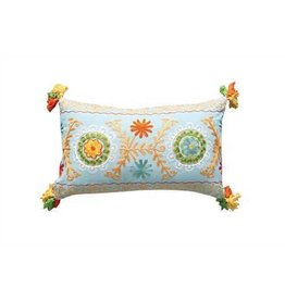 """20""""L x 12""""H Cotton Pillow w/ Floral Embroidery & Tassels"""