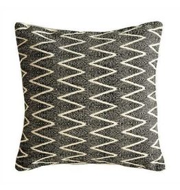 "18"" Square Cotton Pillow w/ Chevron Print, Natural/Black"