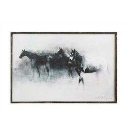 Wood Framed Canvas Wall Décor w/ Horses