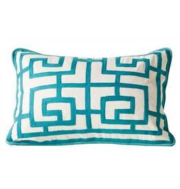 "20""L x 14""H Cotton Crewel Pillow, Aqua"