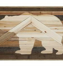 Fir Wood Wall Décor w/ Laser Cut Bear Image