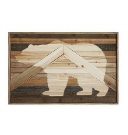 Fir Wood Wall Décor w/ Laser Cut Bear Image