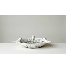 Terra-Cotta Decorative Bowl w/ Birds, Heavily Distressed White Finish