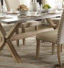 Homelegance Luella X-Trestle Dining Table, Weathered Oak