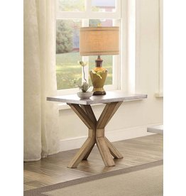 Homelegance Luella End Table - Weathered Oak with Zinc Table Top