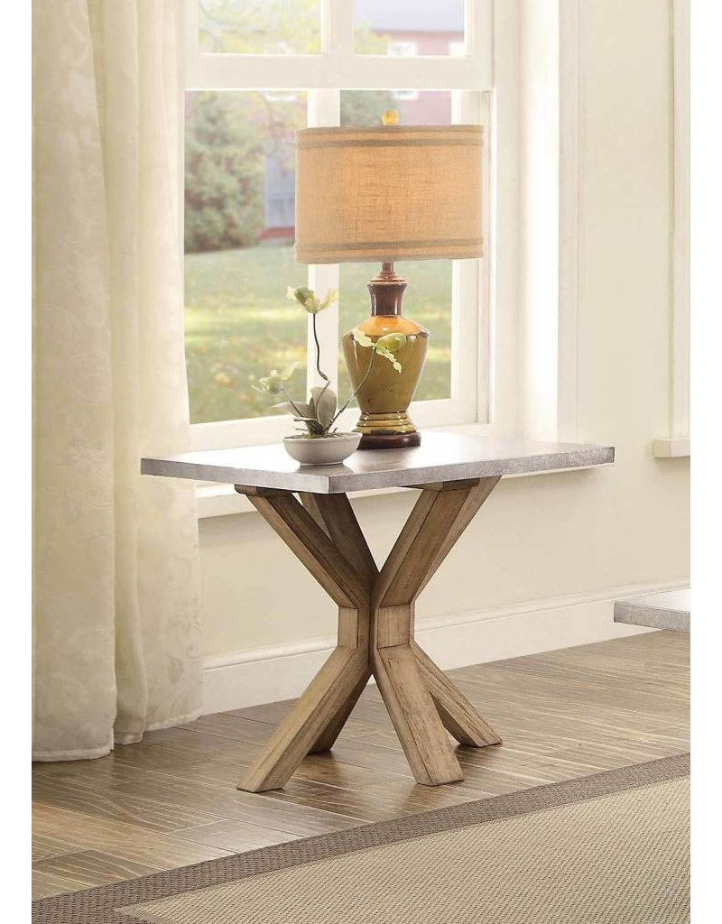 Homelegance Luella End Table - Weathered Oak with Zinc Table Top on home chairs, home entry tables, design tables, home coffee tables, decor tables, home goods tables, garden tables, home interiors tables, bed tables, home accent tables, home bar table sets, chair tables, home ironing tables, building tables, home art tables, jewelry tables, golf tables, board tables, home woodworking tables, kitchen tables,