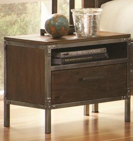 Coaster Arcadia Industrial Night Stand with Pewter-Coated Metal Accents