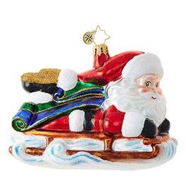 Sledding Santa Ornament 2017