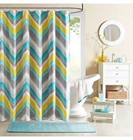 Intelligent Design Yellow and Blue Shower Curtain