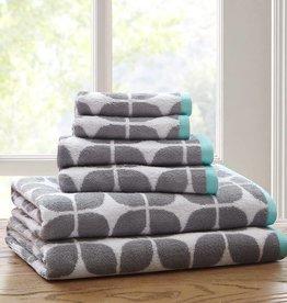 Intelligent Design Grey White and Blue 6 Piece Towel Set