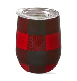 Red/Black Checkered Stemless Wine Glass