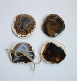 Round Agate Brown Coasters / Set of 4