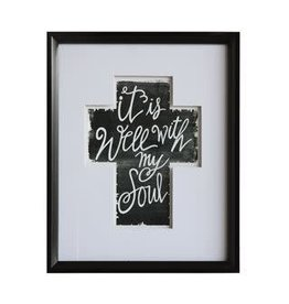 "Wood Framed Cross ""It Is Well With My Soul"""