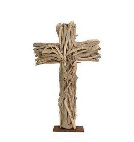 Driftwood Cross W/ Wood Base