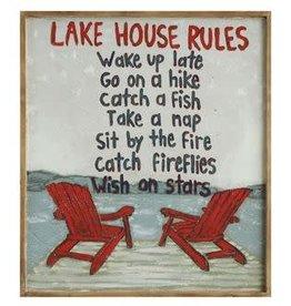 "Wood Framed Canvas ""Lake House Rules"""