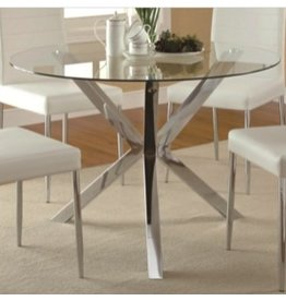 Coaster Vance Contemporary Glass-Top Dining Table, Chrome Base