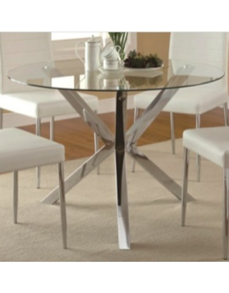 f3b47b6ae563 Coaster Vance Contemporary Glass-Top Dining Table, Chrome Base ...