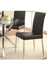 Coaster Vance Contemporary Dining Chair, Black and Chrome