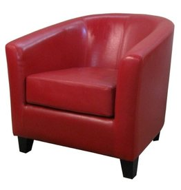 Hayden Red Leather Tub Chair / Bonded