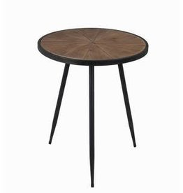 Privilege Small Round Accent Table (wood top, metal legs)