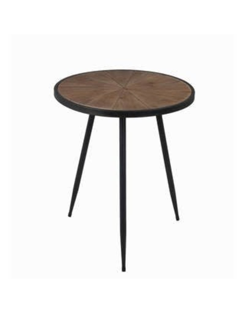 Privilege Small Round Accent Table Wood Top Metal Legs