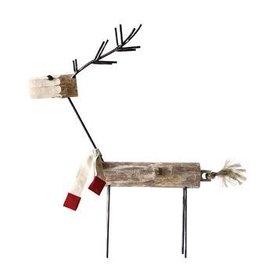 """Wood and Metal Reindeer W/Scarf--36"""""""