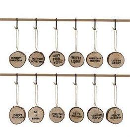 Round Cedar Wood Ornament W/Saying, 12 styles