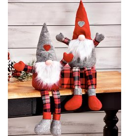 Gnome Shelf Sitter With Plaid Pants/RED Hat