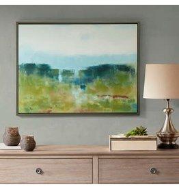 Morning Fields Green Hand Embellished Framed Canvas