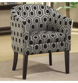 Coaster Charlotte Hexagon Patterned Accent Chair with Wood Legs