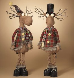"""42""""H B/O Lighted Plush Holiday Standing Moose, 2 Assorted--choice of one"""