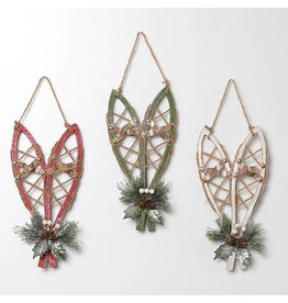 """12""""H Wood Hanging Snow Shoes Ornament, 3 Asst--choice of one"""