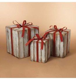 Nesting  White Wood Gift Boxes--Set/3