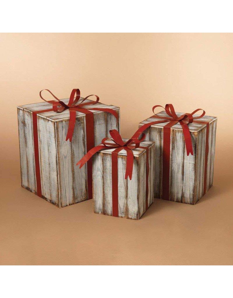 Nesting White Wood Gift Boxes Set 3