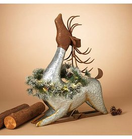 "29.9""H Lighted Galvanized Metal Deer w/ Wreath and Timer"