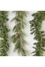 Raz Imports Lighted Green Pine Garland W/Remote--9'