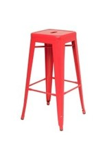 Metropolis Metal Backless Bar Stool-Red